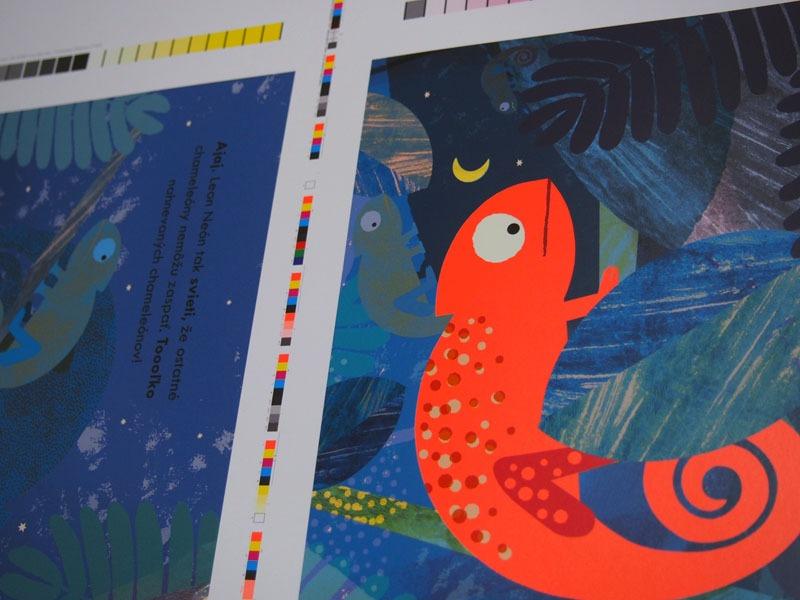 Testovací hárok z tlačiarne na ktorom sa overuje správnosť farieb, až potom ide kniha do výrobyk
