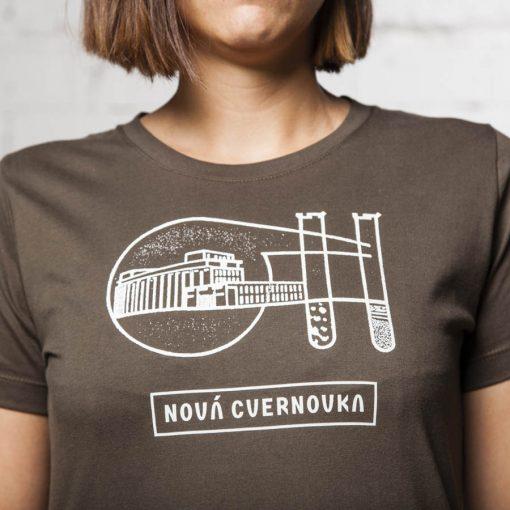 Olivove damske tricko Logo Racianska Cvernovka