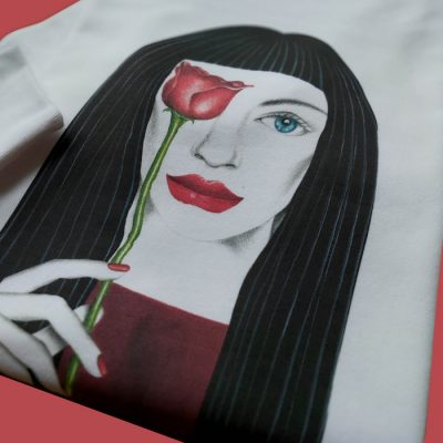 Roses are red biela - Abstraktné stavy / mikina
