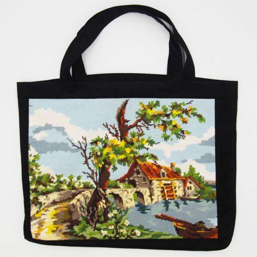 Veľká taška s výšivkou - Mlyn / Bartinki