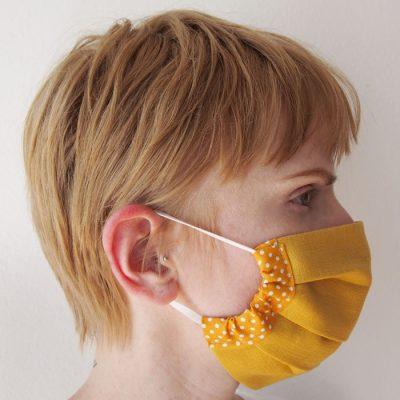 Horčicovo žlté bavlnené rúško na tvár