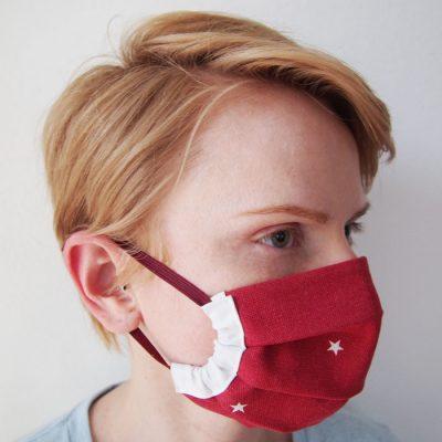 Červené bavlnené dvojvrstvové rúško na tvár