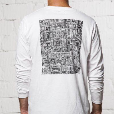 biele tricko Labyrint s dlhym rukavom