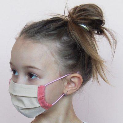 Béžové detské bavlnené rúško na tvár
