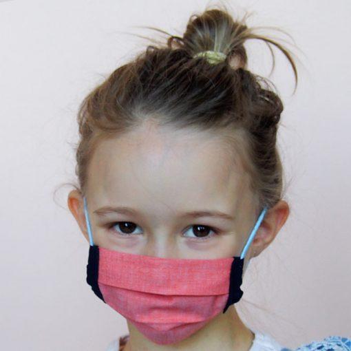 Lososovo oranžové detské bavlnené rúško na tvár
