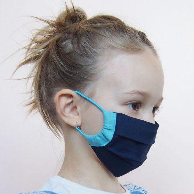 Tmavo modré detské bavlnené rúško na tvár