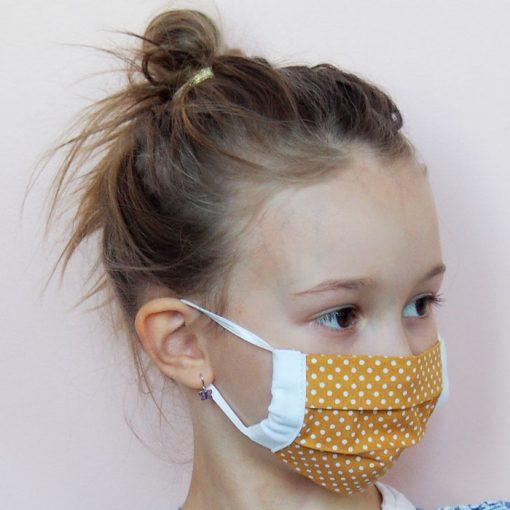 Žlté detské bavlnené rúško na tvár s bielymi bodkami
