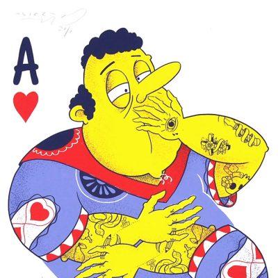 Karty: srdcové A - Jozef Gľaba / grafika