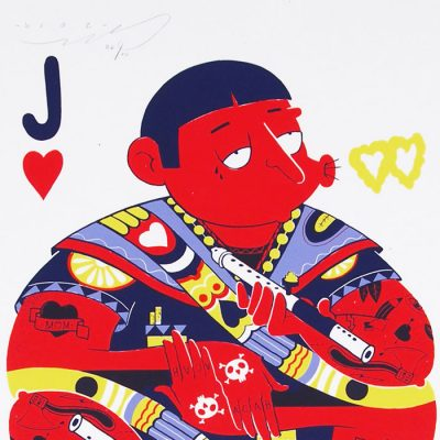 Karty: srdcové J - Jozef Gľaba / grafika