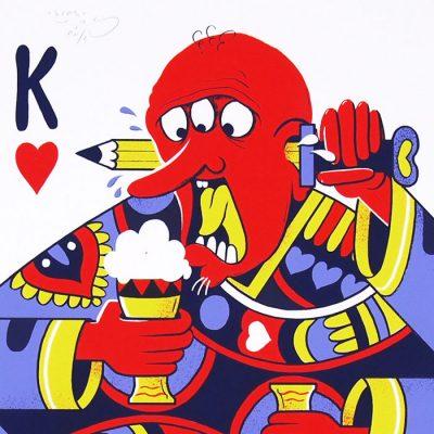 Karty: srdcové K - Jozef Gľaba / grafika