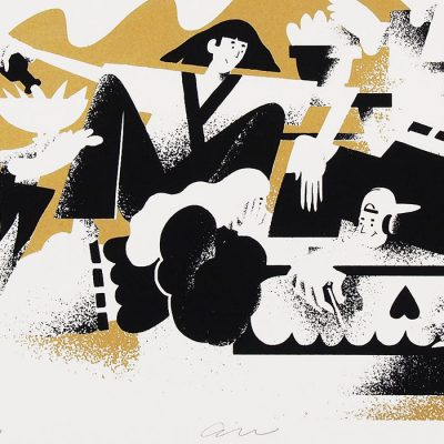 Ženy, víno, linoleum - Jozef Gľaba / grafika