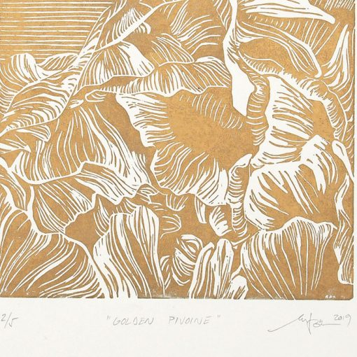 Golden Pivoine - Martina Rötlingová / linorytová grafika 21 x 30cm