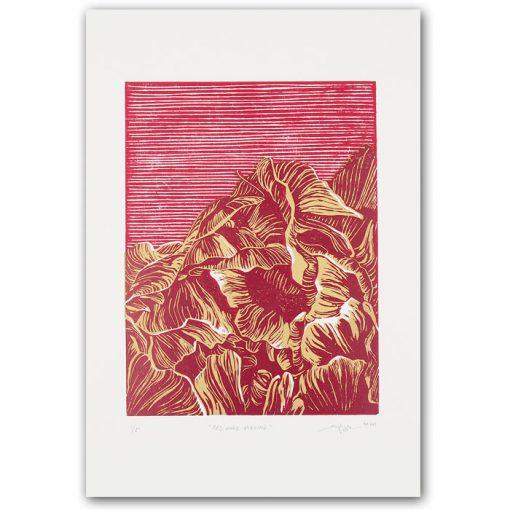 Red Gold Pivoine - Martina Rötlingová / linorytová grafika 21 x 30cm