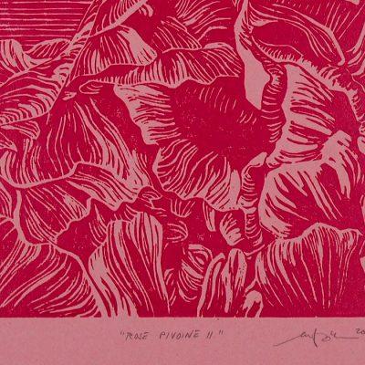 Rose Pivoine II., ružový - Martina Rötlingová / linorytová grafika 21 x 30cm