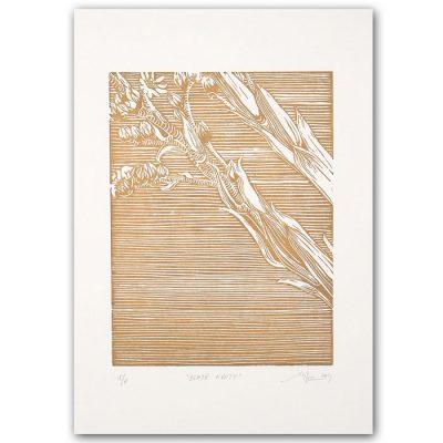 Zlaté kvety - Martina Rötlingová / linorytová grafika 21 x 30cm