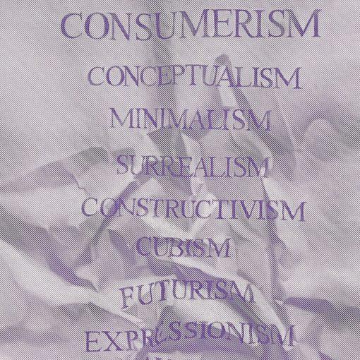 Consumerism fialový - Martina Rötlingová sieťotlačová grafika 30 x 42cm