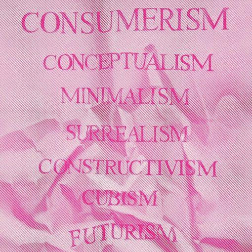 Consumerism ružový - Martina Rötlingová linorytová grafika 30 x 42cm