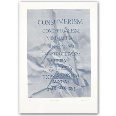 Consumerism modrý - Martina Rötlingová sieťotlačová grafika 30 x 42cm
