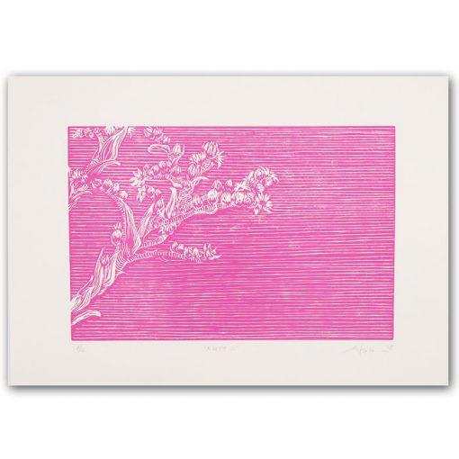 Kvety II. ružové - Martina Rötlingová linorytová grafika 30 x 42cm