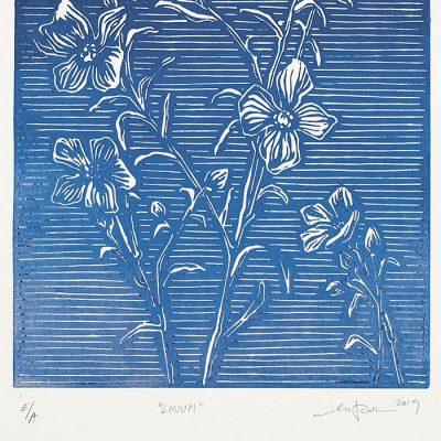 Linum tmavo modrý #2 - Martina Rötlingová linorytová grafika 21 x 30cm