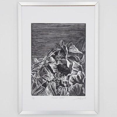 Noir Pivoine - Martina Rötlingová linorytová grafika 21 x 30cm