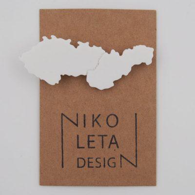 Czechoslovakia biela - Nikoleta Design / brošňa