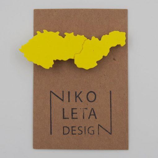 Czechoslovakia žltá - Nikoleta Design / brošňa
