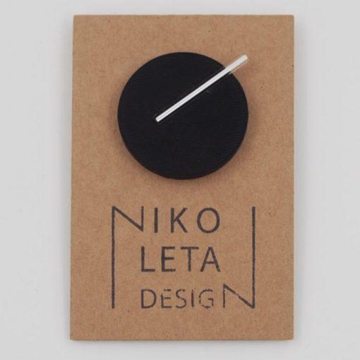 Kruh veľký, čierna - Nikoleta Design / brošňa s magnetom
