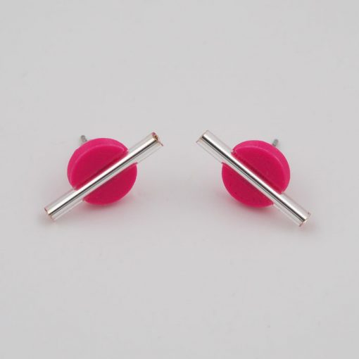 Kruh malý ružový so striebornou tyčkou - Nikoleta Design / náušnice
