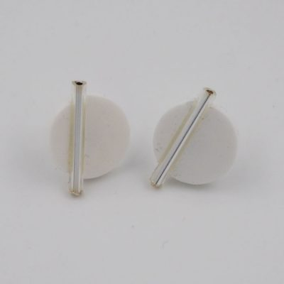 Kruh veľký, biele, strieb. - Nikoleta Design / náušnice