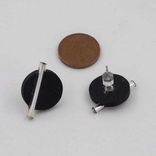 Kruh veľký, čierne, strieb. - Nikoleta Design / náušnice