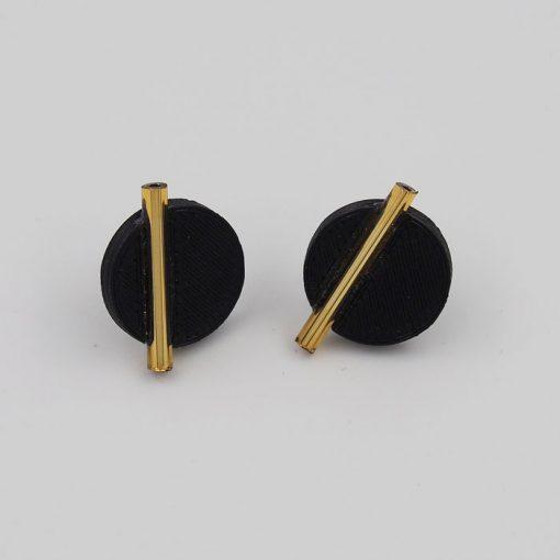 Kruh veľký, čierne, zlat. - Nikoleta Design / náušnice