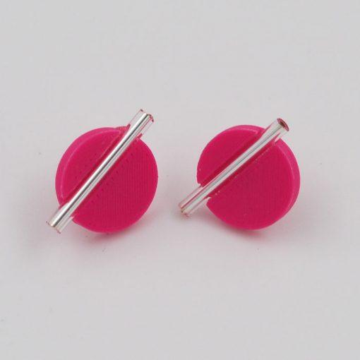 Kruh veľký, ružové, strieb. - Nikoleta Design / náušnice
