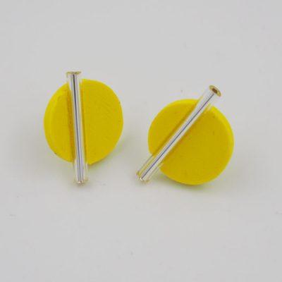 Kruh veľký, žlté, strieb. - Nikoleta Design / náušnice