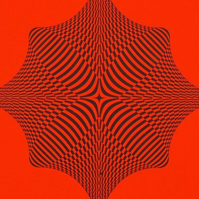 Rombus - opt art series, neónovo oranžový - David Mascha, 32 x 32 cm - Pressink / grafika
