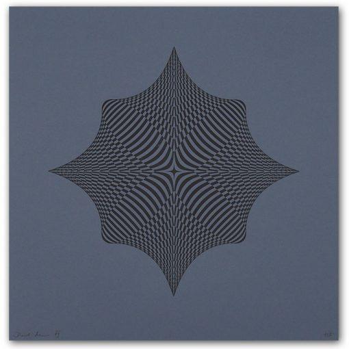 Rombus - opt art series, sivý - David Mascha, 32 x 32 cm - Pressink / grafika