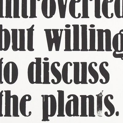 Introverted but willing to discuss the plants - Pressink / grafika