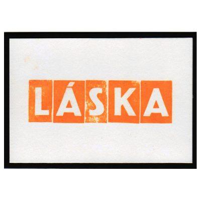 Láska - letterpress pohľadnica Pressink
