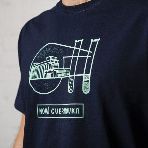 tmavo modre panske tricko Logo Racianska Cvernovka