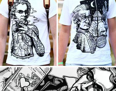 Podobizne slávnych skladateľov klasickej hudby na tričkách