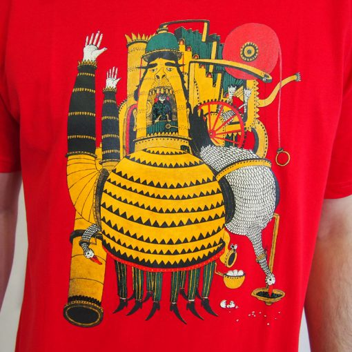 Červené pánske tričko Yaxplus Machine man