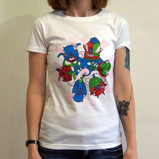 Biele dámske tričko Yaxplus Monsters