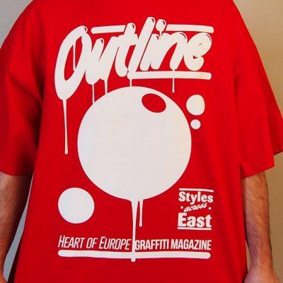 červene panske tričko outline