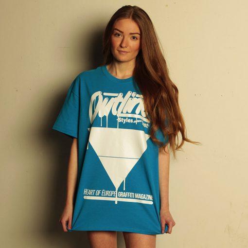outline modré pánske tričko