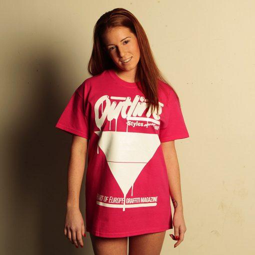 outline ružové pánske tričko