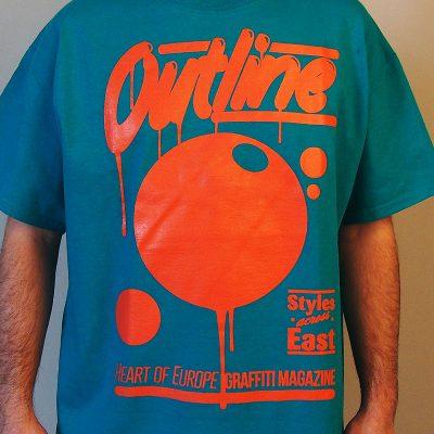 outline tyrkysové pánske tričko