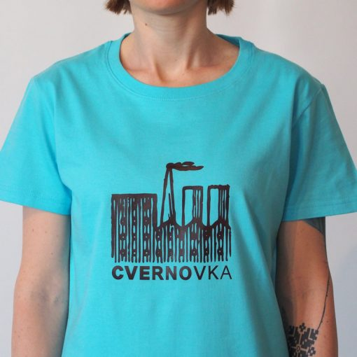 Dámske tyrkysové tričko Cvernovka logo