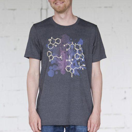 Sivé pánske tričko fialová chémia