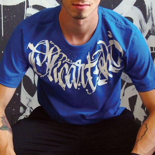 Modré tričko SKC Art calligraphy