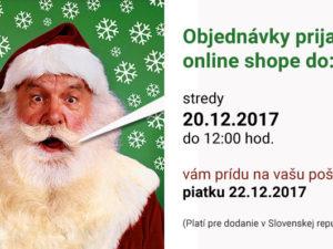 Dodanie objednávok a otváracie hodiny počas vianočných sviatkov 2017